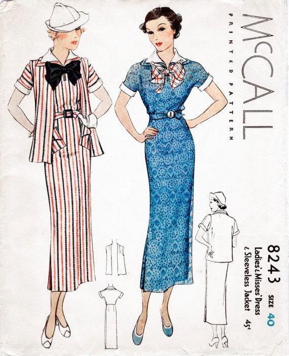 30er Jahre 1930er Jahre McCall Sport Kleid & Jacke | Etsy