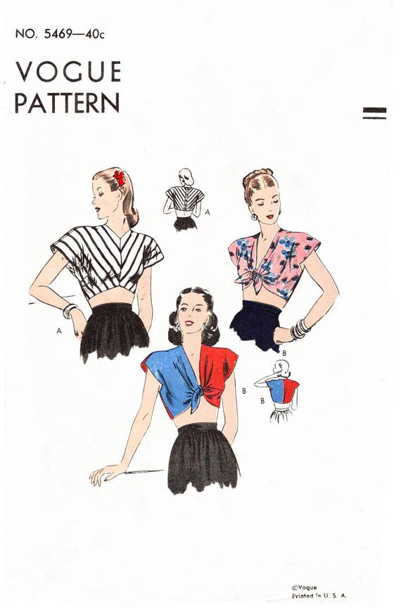 vintage sewing pattern 1940s 40s crop top beachwear // | Etsy