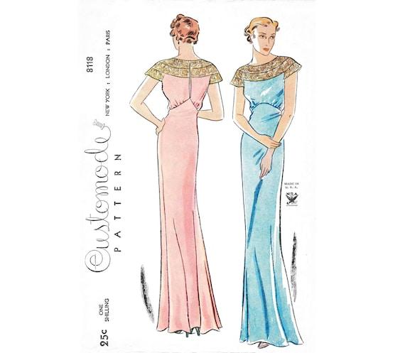 1930er Jahren 30er Jahre Abend Kleid Vintage Nähen Muster | Etsy