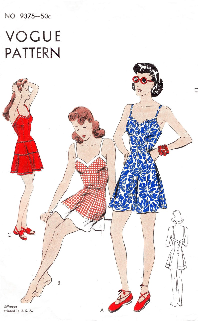 ad82c9a42a7 1940s 40s vintage playsuit sewing pattern    beachwear    one