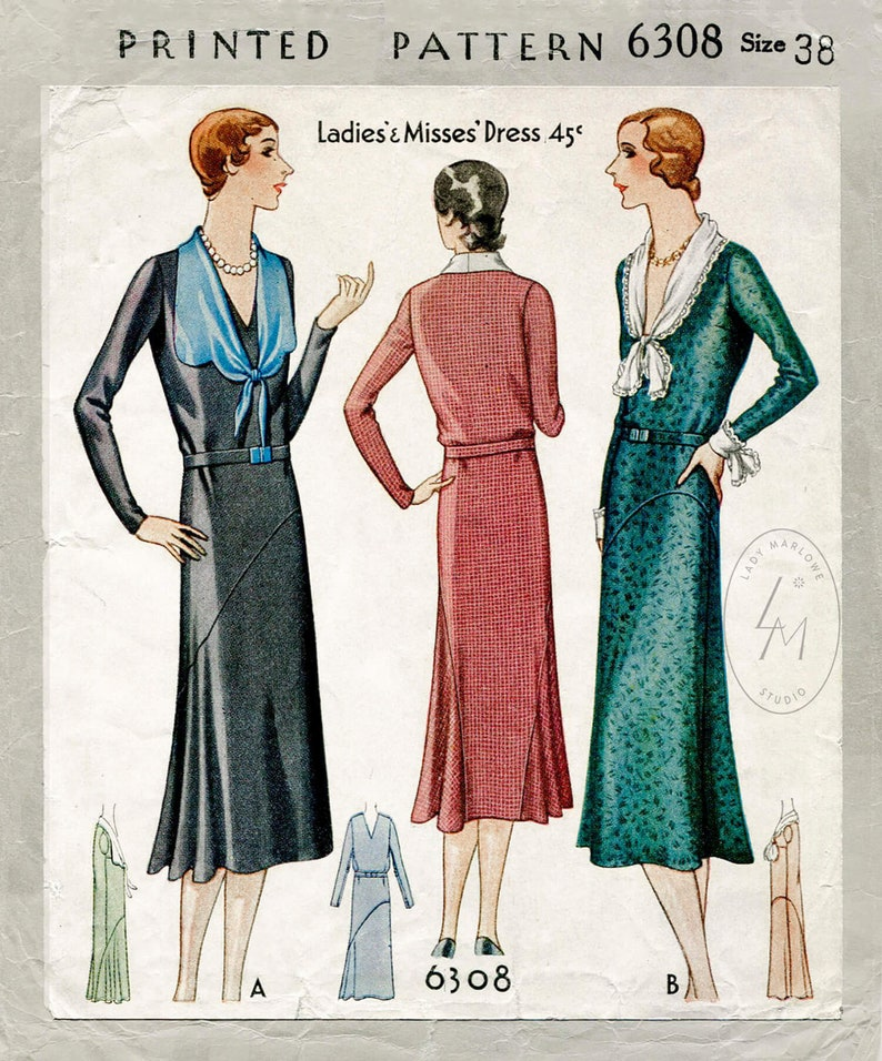 1930s Sewing Patterns- Dresses, Pants, Tops vintage sewing pattern reproduction 30s 1930s day dress tie collar bias cut flounce skirt bust 38 b38 $22.80 AT vintagedancer.com