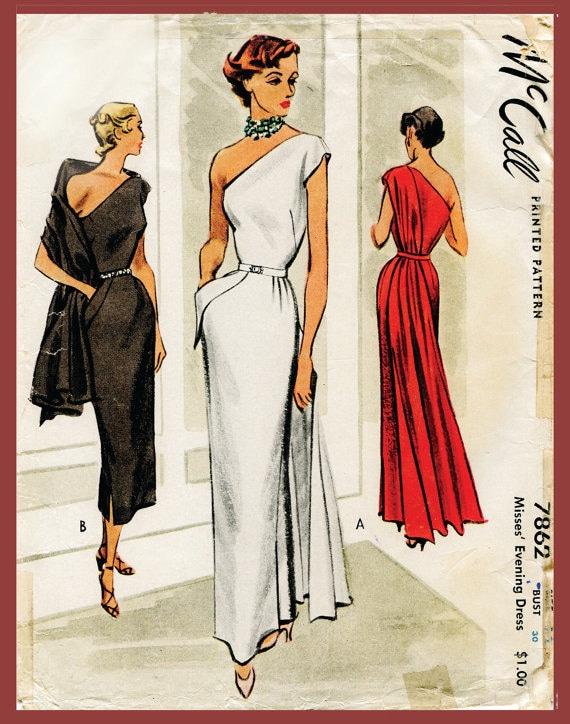 1940s 1950s Vintage Kleid Schnittmuster Abend Cocktail Kleid | Etsy