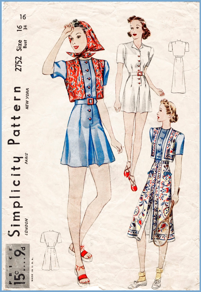 25b96d8449 Vintage sewing pattern 1930s 30s reproduction playsuit beach