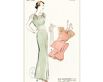 """vintage sewing pattern 30s 1930s vintage lingerie pattern gown negligee long dress Small bust 30 - 32"""" reproduction"""