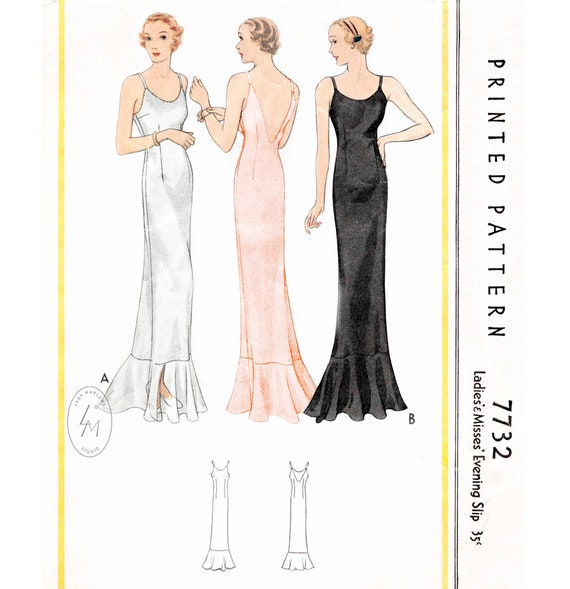 1930s evening dress vintage sewing pattern repro  spaghetti straps  plunge back  English /& French  PICK YOUR SIZE bust 32 34 36 38 40