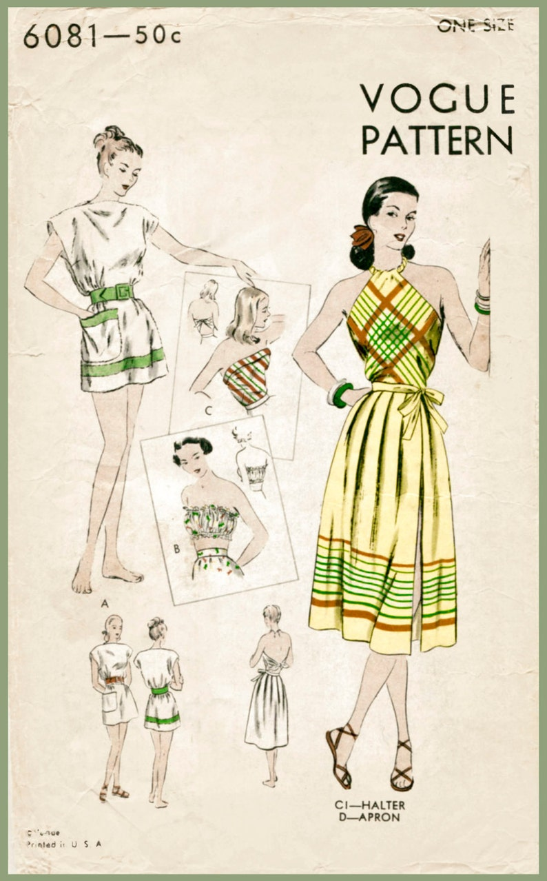 04c154754f Vintage sewing pattern 1940s 40s vintage swimsuit sewing