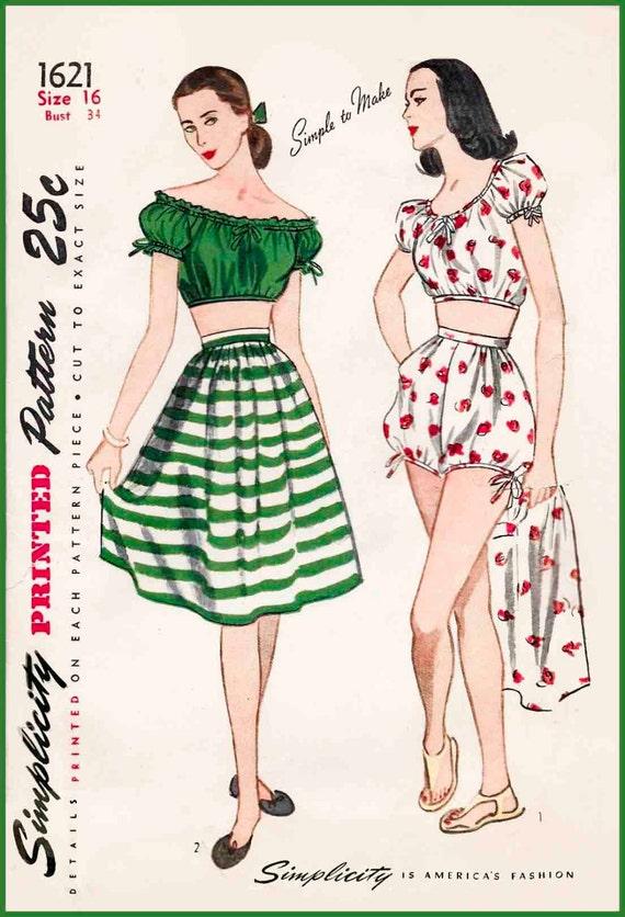1940er Jahre 40er Jahre Vintage Badeanzug Schnittmuster ab | Etsy