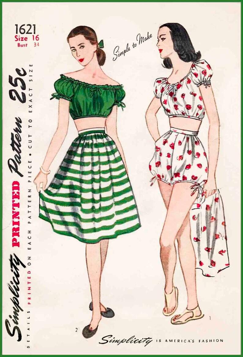 1940s 40s cartamodello costume da bagno vintage off spalla  29a1c7f25405