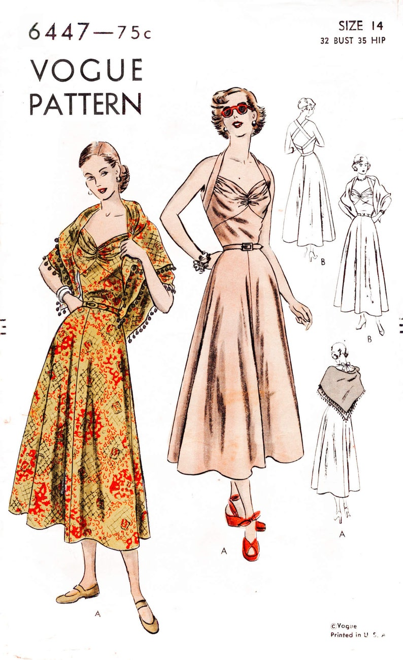 2cc329047db Vintage sewing pattern 1950s 50s halter dress beachwear