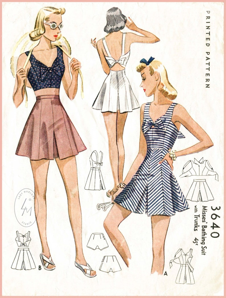 40s-50s Vintage Playsuits, Jumpsuits, Rompers History 40s 1940s PICK YOUR SIZE bust 32 34 36 38 vintage womens sewing pattern crop top playsuit shorts beach romper English & French reproduction $21.80 AT vintagedancer.com