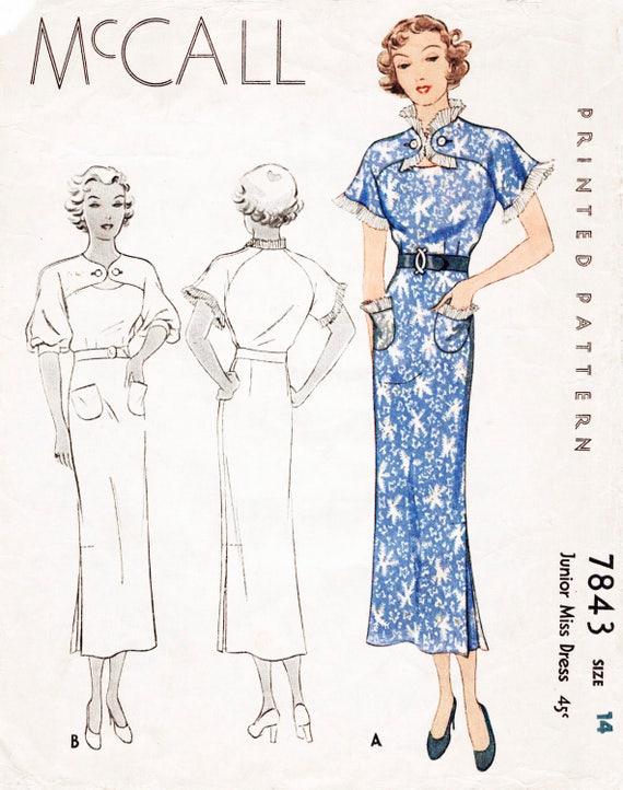 1930s 30s dress vintage sewing pattern art deco details | Etsy
