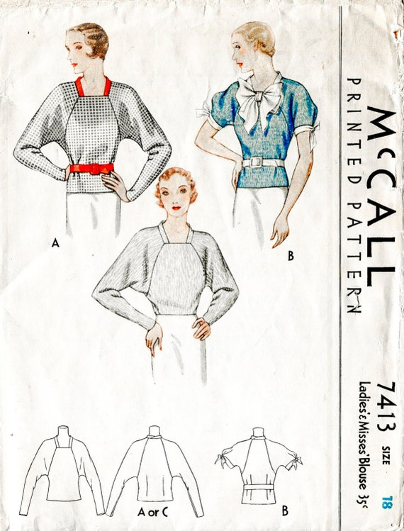 vintage sewing pattern 1930s 30s art deco blouse dolman sleeve | Etsy