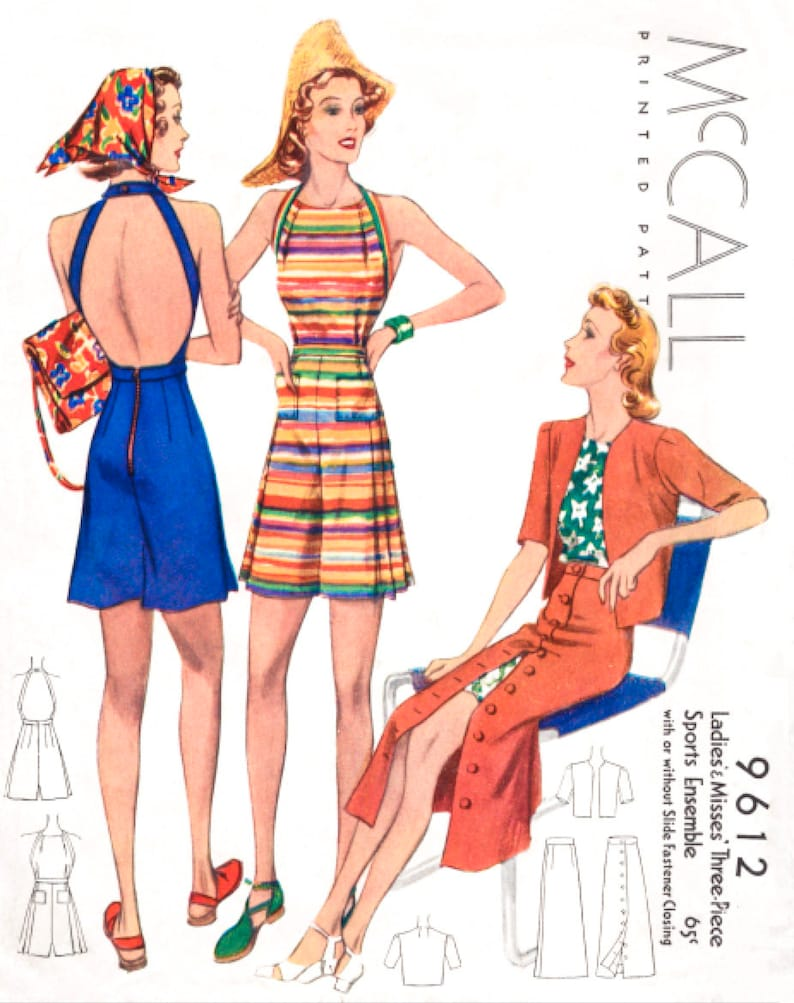 9b54b3d44f Vintage sewing pattern 1930s pattern    beachwear playsuit
