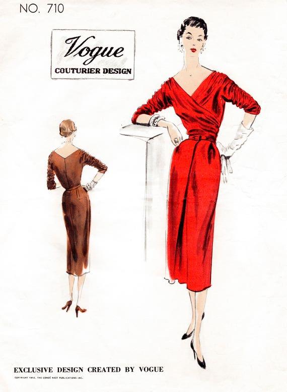 1950er Jahre wackeln 50er Jahre cocktail Kleid faux wickeln | Etsy