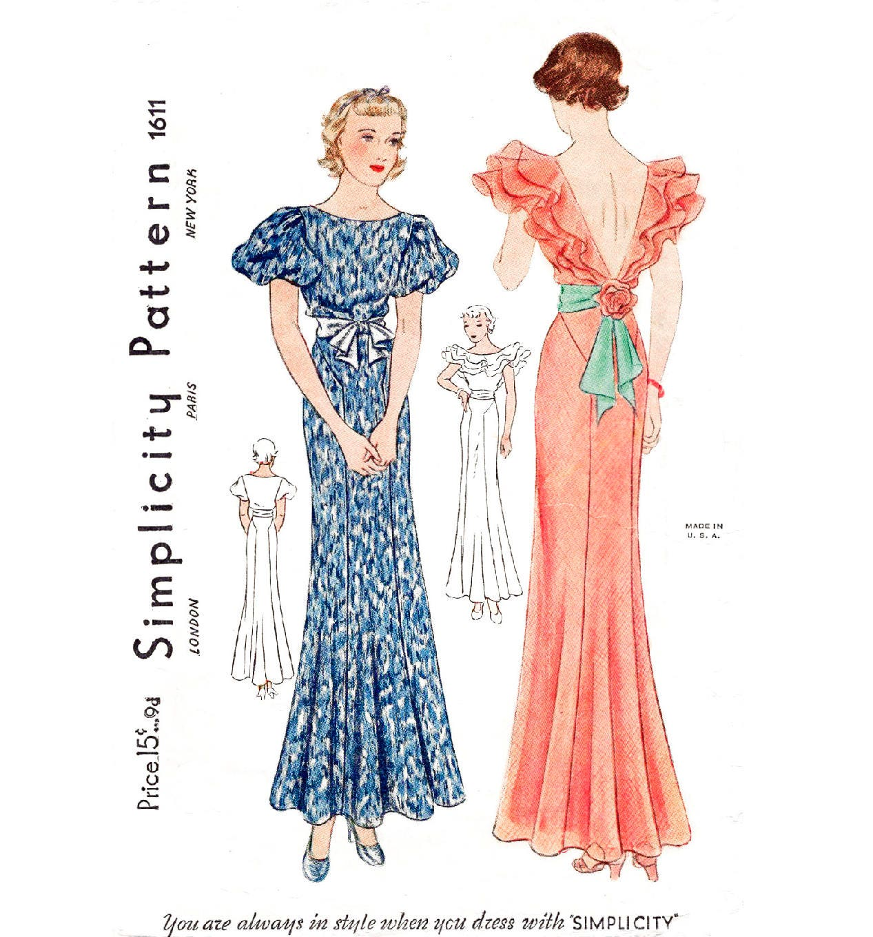 1930s 30s evening gown // vintage sewing pattern reproduction | Etsy