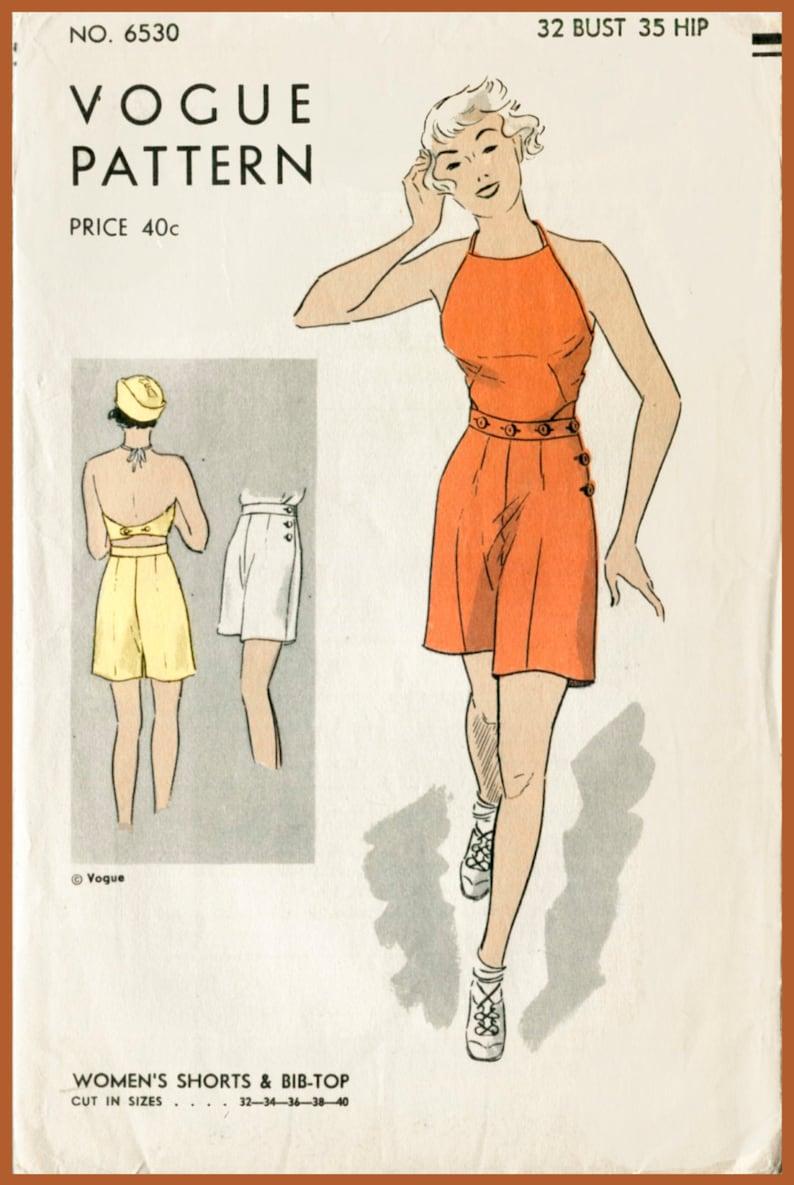 Abbottonato Raccolto 36 Donna 34 1930s Vintage 38 Halter 30s Cartamodello Shorts Top Busto 32 Di Salopette Corta Pagliaccetto Spiaggia EIYbWDH92e