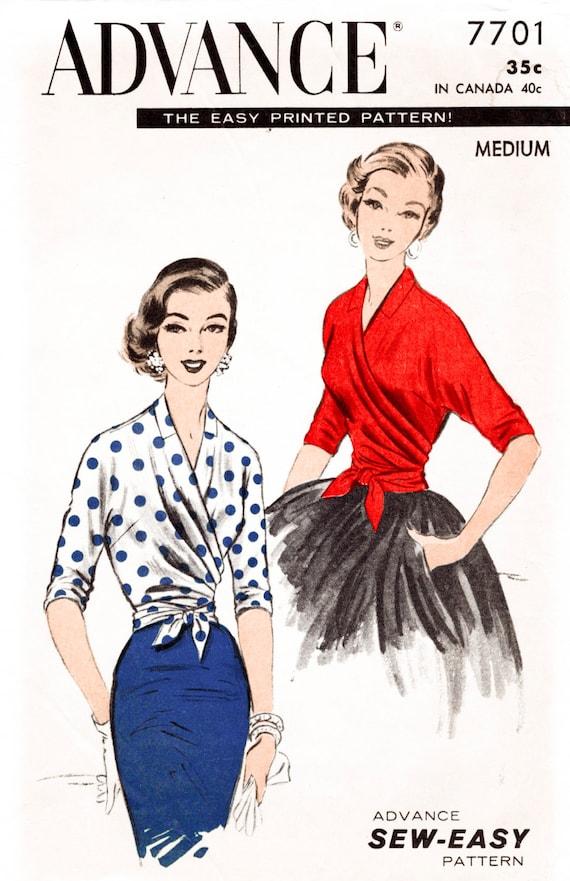 1950er Jahre 50er Jahre Vintage Nähen Muster wickeln Bluse | Etsy