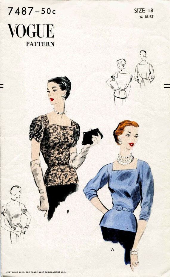 1950er Jahre 50er Jahre Schnittmuster Abend cocktail Bluse | Etsy