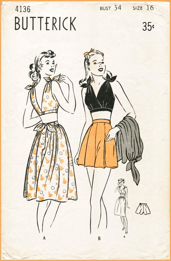 vintage sewing pattern 1940s 40s playsuit beach romper tie   Etsy