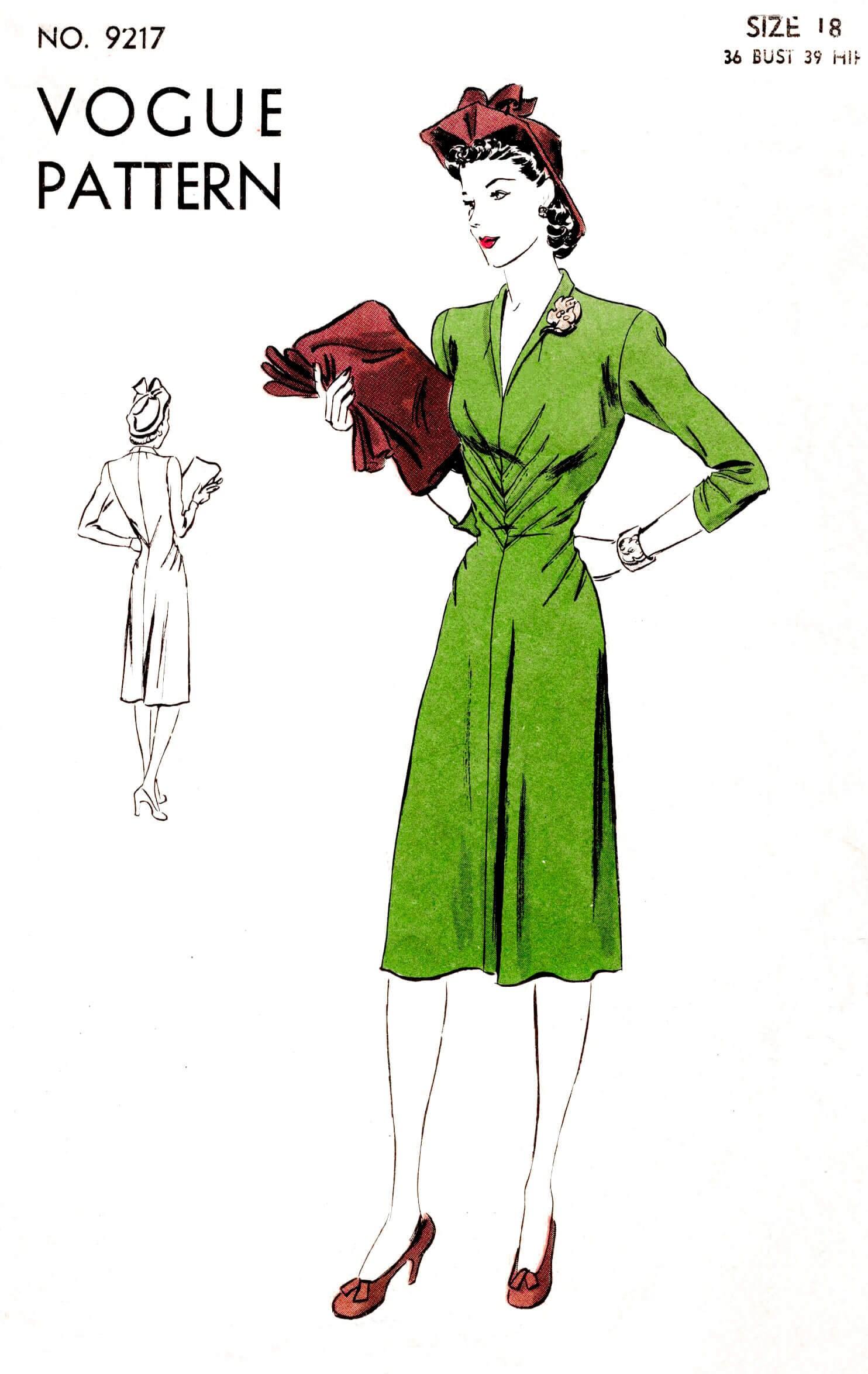 1940er Jahre 40er Jahre Kleid nähen Muster Reproduktion / /