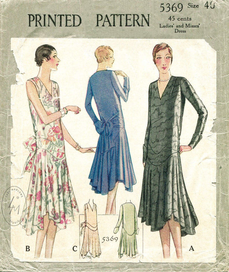 vintage sewing pattern 1920s 1930s  flapper day or evening dress bias cut drop waist PICK YOUR SIZE bust 32 34 36 38 40 reproduction
