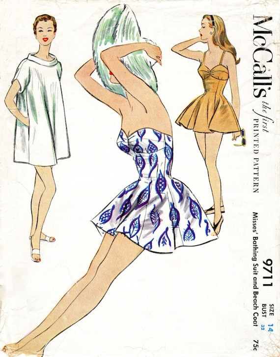 1950er Jahre 50er Jahre Vintage Repro Badeanzug Schnittmuster | Etsy