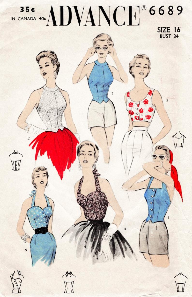 1950s Sewing Patterns | Dresses, Skirts, Tops, Mens vintage sewing pattern 1950s 50s 4 styles bustier crop top halter Bust 32 34 36 38 $17.80 AT vintagedancer.com
