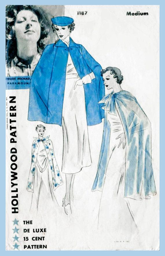 Vintage Schnittmuster der 1930er Jahre 30er Jahre Kap Tag und
