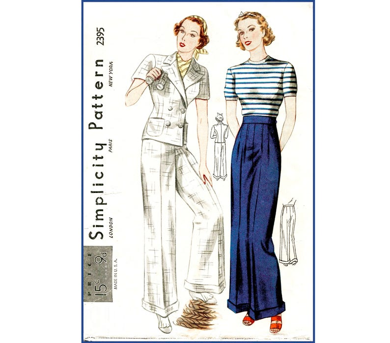 1930s 30s vintage sailor sewing pattern  // cuffed pants wide image 0
