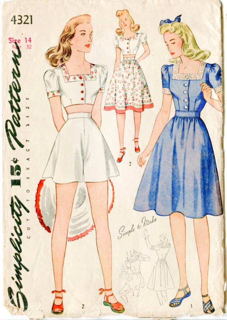 10faa1bb5f Vintage sewing pattern 1940s 40s crop top playsuit skirt