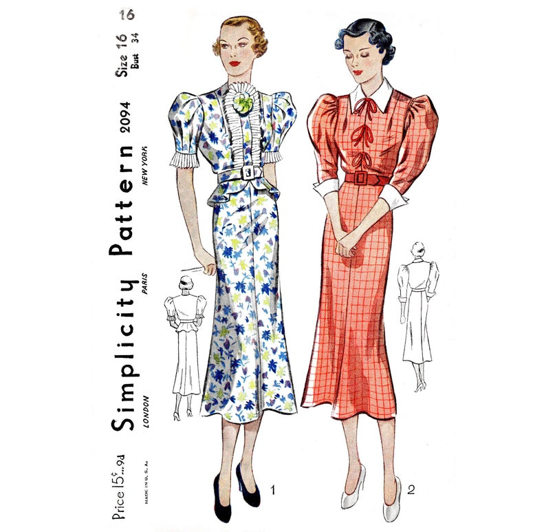 e125ada48e Vintage sewing pattern 1930s 30s dress    accordion pleats