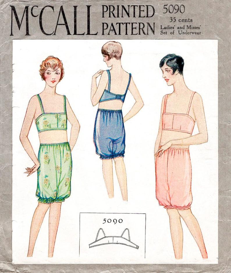 3120833e3443 1920s 20s pattern // bra & bloomer shorts // vintage lingerie | Etsy