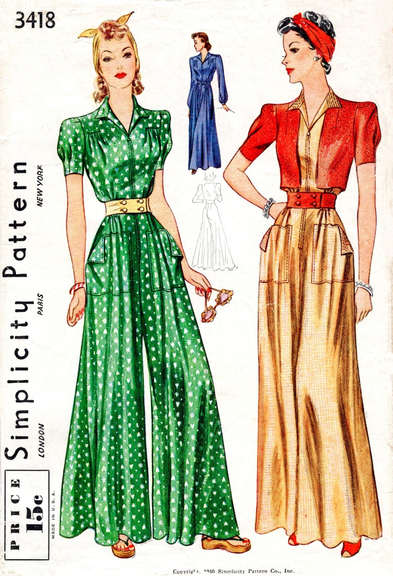 2c800b2489b21 Vintage sewing pattern 1930s 1940s jumpsuit palazzo pants