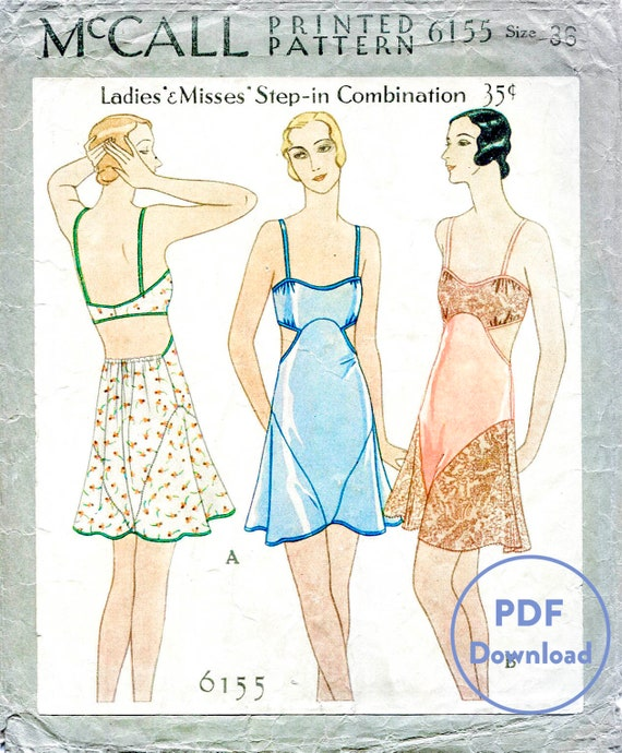 Retro Lingerie, Vintage Lingerie, 1940s-1970s  30s vintage lingerie sewing pattern / PDF digital download / romper bodysuit lace teddy / bust 36 English & French $12.50 AT vintagedancer.com