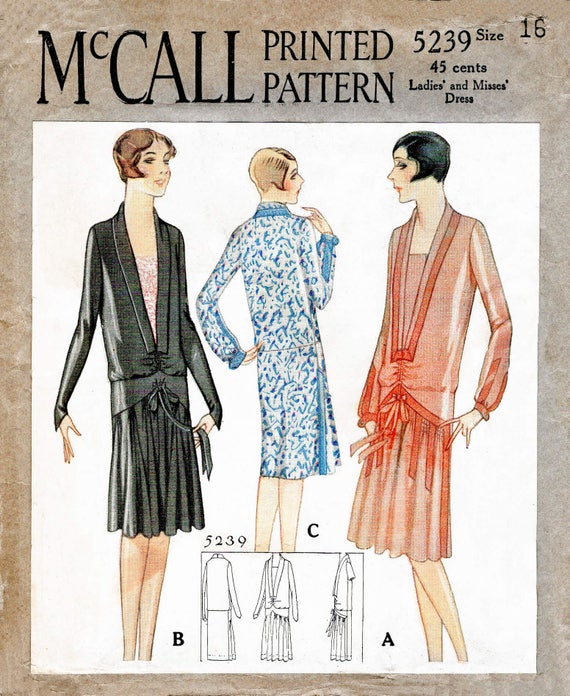 1920s 20s drop waist dress vintage sewing pattern reproduction | Etsy