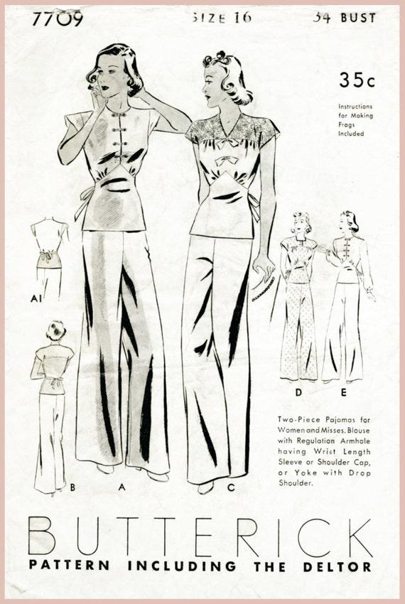 vintage sewing pattern 1930s 30s vintage pajama sewing pattern | Etsy