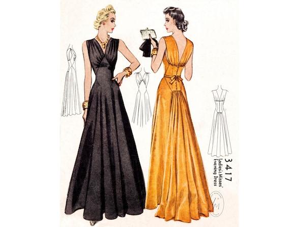 1930er Jahre 30er Jahre Abendkleid Kleid Vintage Nahmuster Etsy
