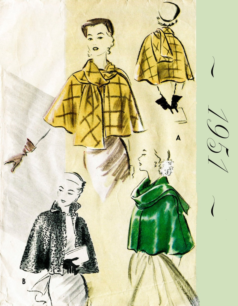 vintage sewing pattern 1950s 50s   Cape Shawl Evening or Day  French /& English  PICK YOUR SIZE Bust 32 34 36 38 40 42