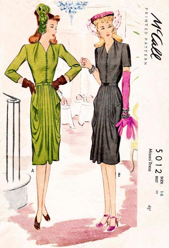 1940s Draped Tulip Skirt Vintage Dress Sewing Pattern Pick Etsy