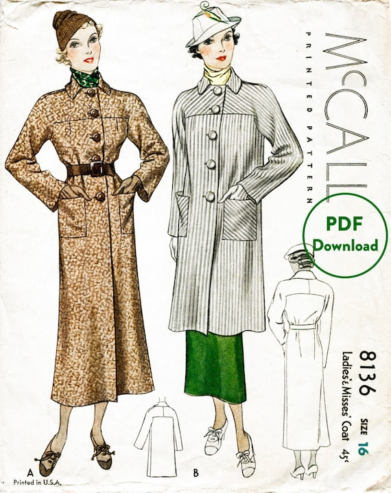 1930s 30s Vintage Sewing Pattern Winter Coat Box Shape Two Etsy
