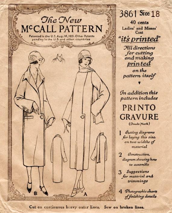 1920er Jahre 20er Jahre Vintage Schnittmuster Flapper Mantel | Etsy