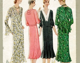 1930s 30s dress sewing pattern afternoon tea dress bias cut ruffle inserts bust 38 b38 reproduction