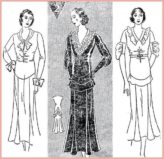 1930er Jahre Vintage Nähen Muster Tag Kleid Krawatte Kragen | Etsy