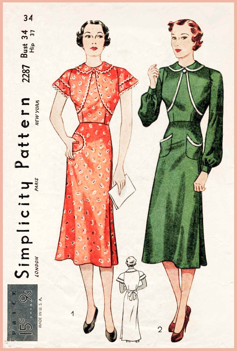 46017f7f83 Vintage sewing pattern 1930s 30s wrap dress frock or apron