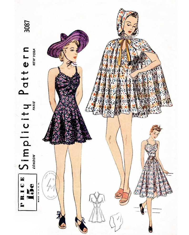 91652242a7 Vintage sewing pattern 3 piece ensemble 1930s beachwear   sun