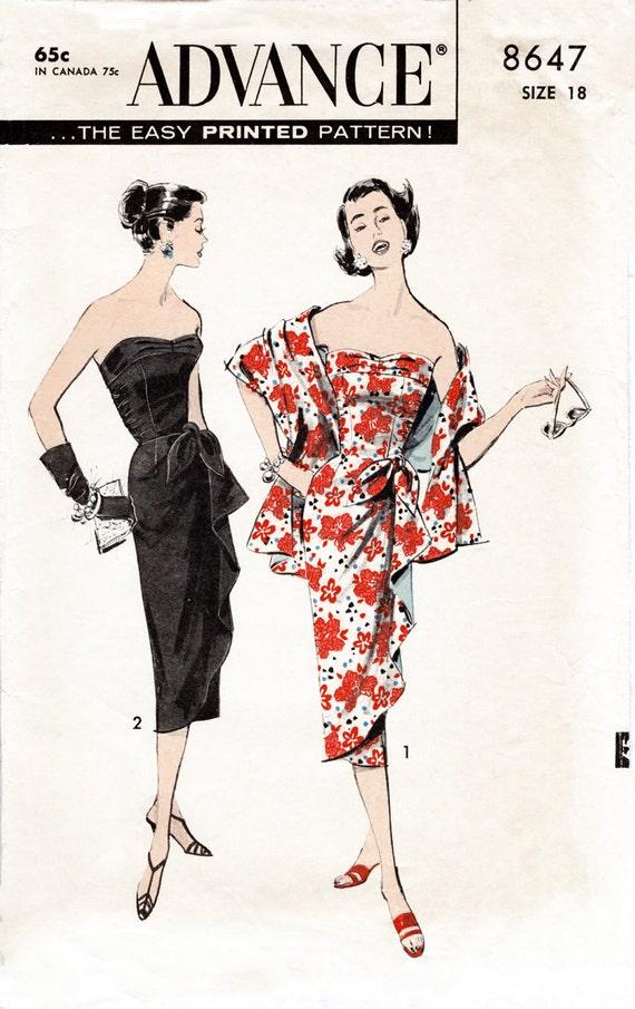 1950er Jahre 50er Jahre Sarong wackeln Kleid & Abend Stola | Etsy