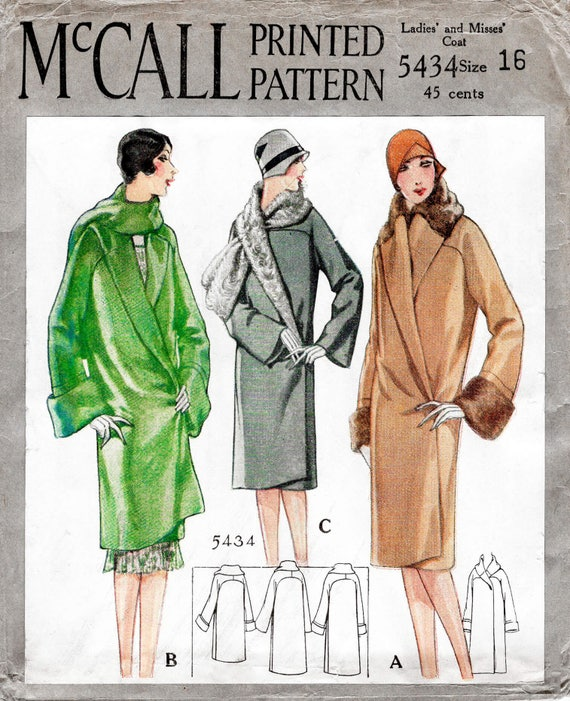 1920s 20s Winter Coat Vintage Sewing Pattern Reproduction Etsy