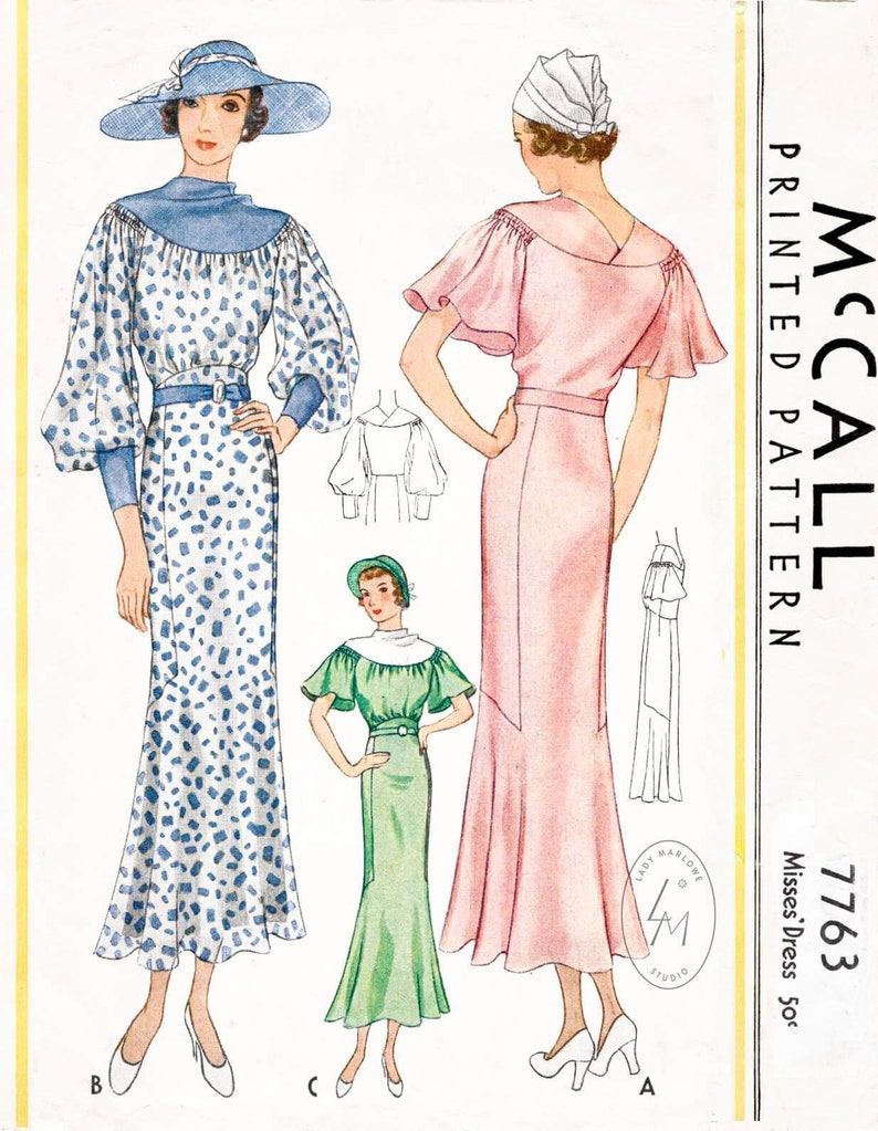 ab3b6acd89 Vintage sewing pattern 1930s 30s dress pattern in 2 styles