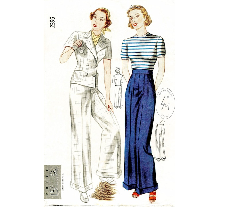 1930s Wide Leg Pants and Beach Pajamas     1930s 30s vintage sailor sewing pattern  // cuffed pants wide leg trousers // double breasted jacket // bust 32 34 36 38 40 $24.80 AT vintagedancer.com