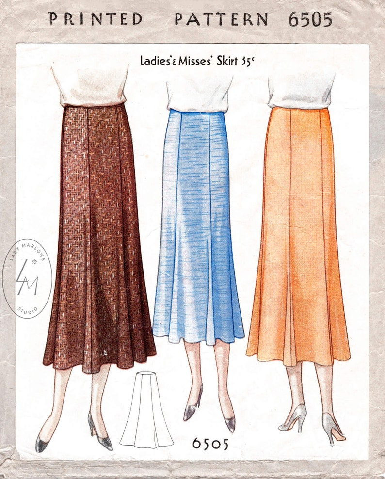1930s Sewing Patterns- Dresses, Pants, Tops 1930s 30s pattern // 6 piece gored skirt with flounce hem // vintage sewing pattern reproduction // XS S M L XL $18.80 AT vintagedancer.com